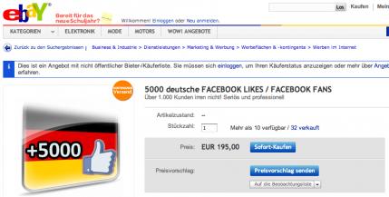 Facebook-Fans bei ebay kaufen